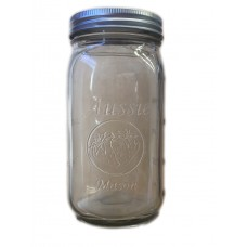 Aussie Mason 86mm Mouth (WIDE) 1000ml QUART Jars & Lids  x 6