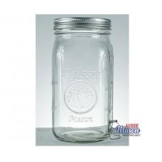 Aussie Mason 86mm Mouth (WIDE) 1000ml QUART Jars & Lids  x 6