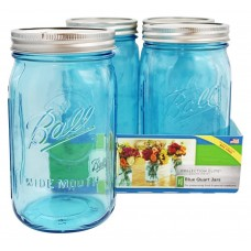 Ball Elite BLUE wide mouth Quart  jars and Lids x 4  NEW!