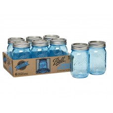 Ball Heritage Collection Blue Pint jars & Lids x 6
