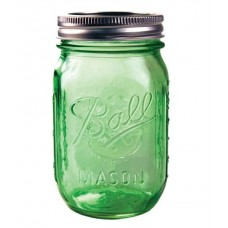 Ball Heritage Collection GREEN Pint jars & Lids x 6