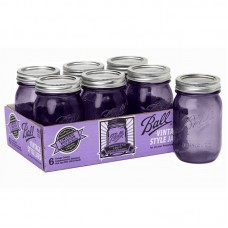 Ball Heritage Collection PURPLE Pint jars & Lids x 6