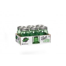 Ball Heritage Collection GREEN Pint jars & Lids x 6 - ON SALE